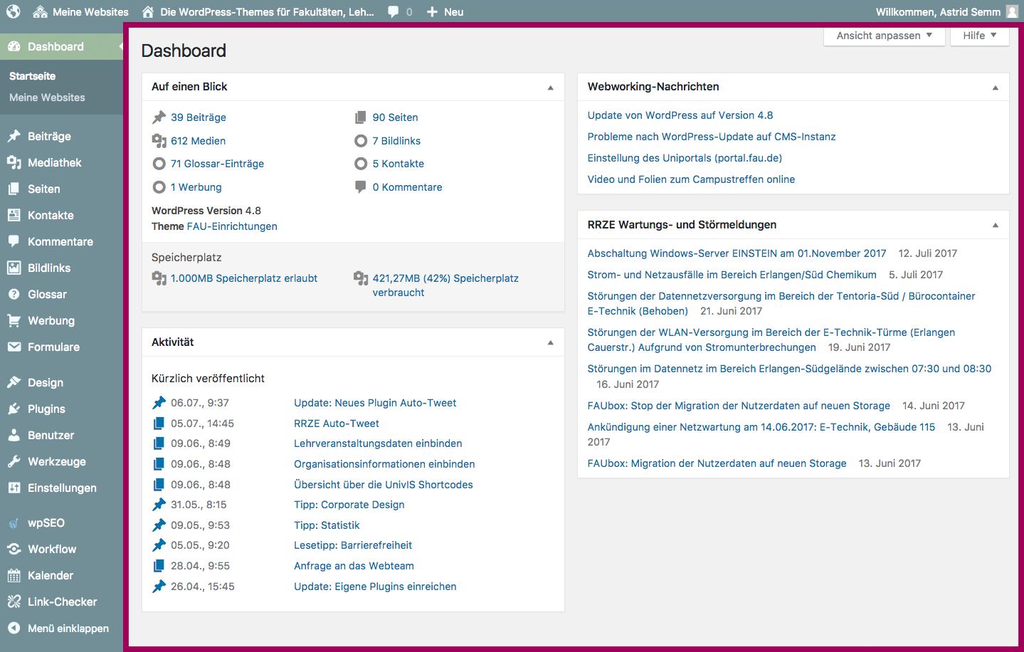 Der Screenshot zeigt das Dashboard mit Hervorhebung gegenüber den Menübereichen