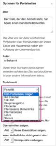 portalseite menue abstellen
