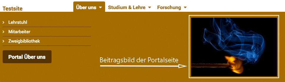 Der Screenshot zeigt den Flyout eines Menüpunkts in der Hauptnavigation mit dem Beitragsbild aus der Portalseite