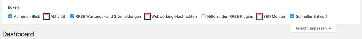 """Das Menü """"Ansicht anpassen"""", Häkchen bei """"Aktivität"""", Webworking-Nachrichten"""" und """"SEO Monitor"""" herausgenommen, Checkboxen hervorgehoben."""