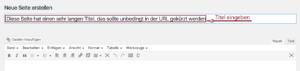 Der Screenshot zeigt die Seitenbearbeitung im Backend. Der Titel der eingegeben wurde, ist sehr lang und sollte gekürzt werden. Der Permalink ist noch nicht automatisch erzeugt worden.