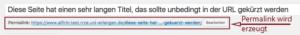 Der Screenshot zeigt den automatisch erzeugten Permalink, der so lang ist, dass ein Teil davon durch Punkte ersetzt werden mußte.