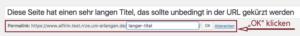 Der Screenshot zeigt den gekürzten Link in der Textbox. Hier muss auf OK geklickt werden, damit die Änderung übernommen wird.