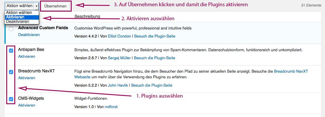 plugin mehrere aktivieren