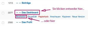 """Screenshot aus der Seitenübersicht; ein Seitenname hervorgehoben, dazu der Hinweis """"Sie klicken entweder hier..."""". Außerdem mit dem Hinweis """"...oder hier"""" Hervorhebung des Mouseover-Menüpunkts """"Bearbeiten""""."""