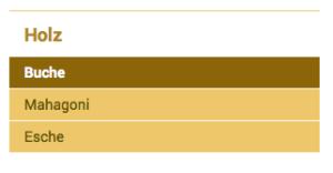 """Durch Numerierung wurde die Anzeige in der Seitennavigation geändert: Nun stehen die Unterseiten in der Reihenfolge """"Buche"""", """"Mahagoni"""" und """"Esche"""" im Menü."""
