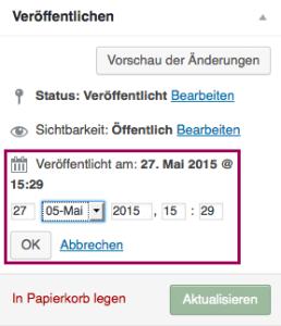 """Der Screenshot zeigt die Metabox """"Veröffentlichen"""", in der die Bearbeitung des Punktes """"Veröffentlicht am:"""" aktiviert und optisch hervorgehoben ist. So kann man die Dropdown-Menüs sehen, mit denen man das Veröffentlichungsdatum und die Veröffentlichungsuhrzeit für die Seite anpassen kann."""