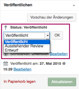 """Der Screenshot zeigt die Metabox """"Veröffentlichen"""" mit geöffnetem Dropdown-Menü des Menüpunkts """"Status"""". Im Dropdown-Menü sieht man die Menüpunkte """"Veröffentlicht"""", """"Ausstehender Review"""" und """"Entwurf"""". Das Dropdown-Menü ist optisch hervorgehoben."""
