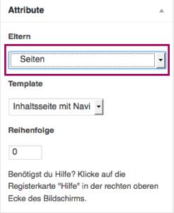 """Der Screenshot zeigt die Metabox """"Attribute"""". Das Dropdownmenü, in dem man die übergeordnete Seite auswählen kann (also die """"Elternseite""""), ist optisch hervorgehoben."""