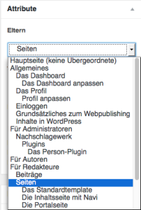 """Der Screenshot zeigt die Metabox """"Attribute"""" mit dem geöffneten Dropdown-Menü, in dem man die übergeordnete Seite auswählen kann."""