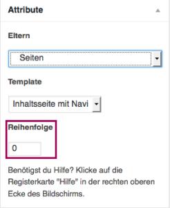 """Der Screenshot zeigt die Metabox """"Attribute"""", optisch hervorgehoben ist die Textbox """"Reihenfolge"""""""
