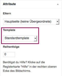 """Der Screenshot zeigt die Metabox """"Attribute""""; das Dropdownmenü, in dem man die Seitenvorlage (Template) auswählen kann, ist optisch hervorgehoben."""