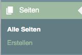 """Der Screenshot zeigt das Menü """"Seiten"""" mit den Auswahlmöglichkeiten """"Alle Seiten"""" und """"Erstellen""""."""