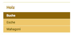 """Der Screenshot zeigt das Ergebnis: Eine auf der linken Seite eingefügte Navigation mit """"Holz"""" als übergeordneter Seite und den Seiten """"Buche"""", """"Esche"""" und """"Mahagoni"""" als untergeordnete Seiten."""