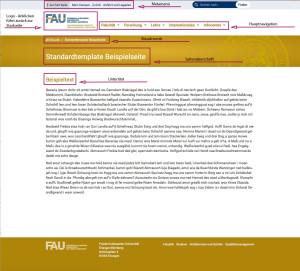 Der Screenshot zeigt die Ansicht einer Seite im Standardtemplate. Hervorgehoben sind die Metanavigation oben, das Lehrstuhllogo, die Hauptnavigation, die Breadcrumb-Navigation, die Seitenüberschrift und der Untertitel.