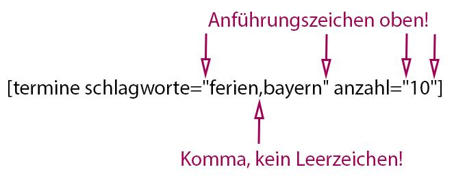 termine shortcode
