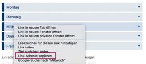 Screenshot von dem Kontextmenü, in dem man die Link-Adresse kopieren kann.