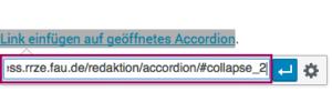 Screenshot von dem Kontextmenü, in dem bei WordPress die Links eingegeben werden mit dem Link auf das Accordionfach.