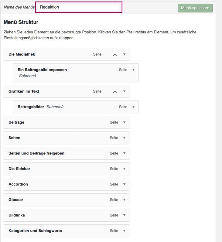 """Screenshot, der die Zusammensetzung des Menüs """"Redaktion"""" der vorliegenden Seite im Backend zeigt"""