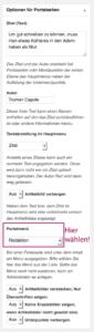 Screenshot, der zeigt, wo das Dropdown-Menü zu finden ist, in dem auf der Portalseite das Menü ausgewählt werden muss.
