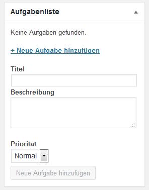 Screenshot von der Metabox Aufgabenliste mit dem Formular zum Eintragen einer neuen Aufgabe