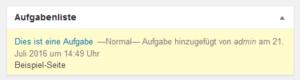 Screenshot von der Aufgabenliste auf dem Dashboard mit einer Aufgabe, die normale Priorität hat.