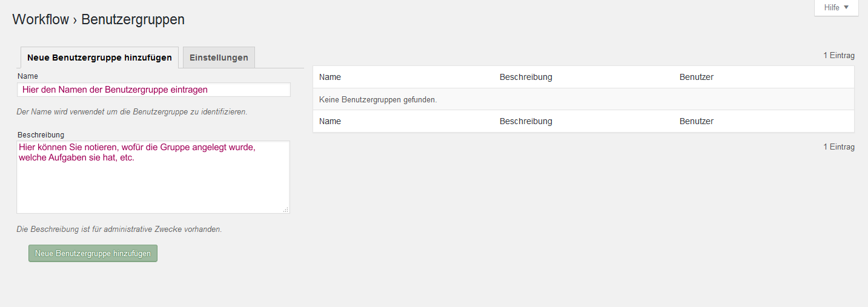 Der Screenshot zeigt, wo Name und Beschreibung einzugeben sind.