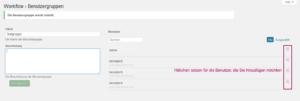 Der Screenshot zeigt, wo die Häkchen gesetzt werden müssen, um Benutzer hinzuzufügen.