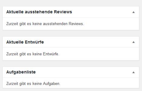 """Der Screenshot zeigt die Metaboxen """"Aktuelle ausstehende Reviews"""", """"Aktuelle Entwürfe und """"Aufgabenliste"""" auf dem Dashboard."""
