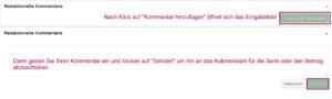 Der Screenshot zeigt die Metabox mit geschlossenem und mit geöffnetem Textfeld für redaktionelle Kommentare