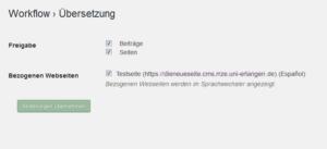 Screenshot von der Auswahl für den zweisprachigen Webauftritt, der zeigt, für welche Dokumente die Übersetzung angelegt werden kann und welches die Seite ist, von der die Übersetzung bezogen wird.