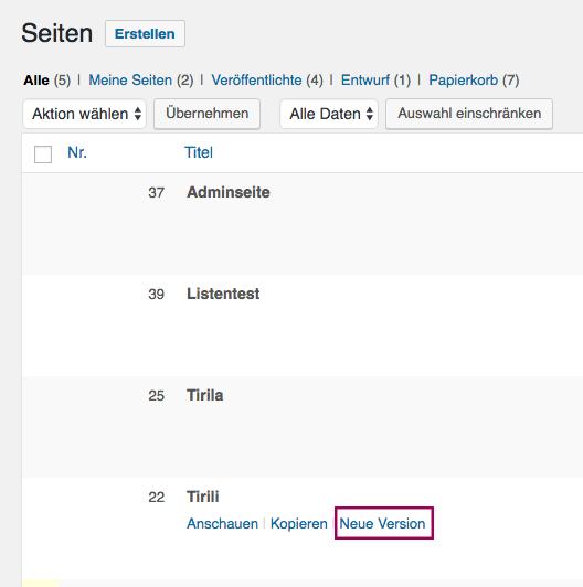 Der Screenshot zeigt die Seitenübersicht mit der Auswahl für die Seitenbearbeitung für Autoren mit eingeschränkten Rechten