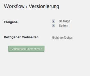 Der Screenshot zeigt den Punkt Versionierung mit Freigabe für Beiträge und Seiten