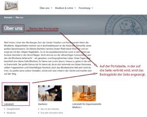 """Screenshot von der Portalseite, auf der das Beitragsbild der Seite """"Lehrstuh"""" angezeigt wird."""