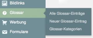 """Der Menüpunkt """"Glossar"""""""