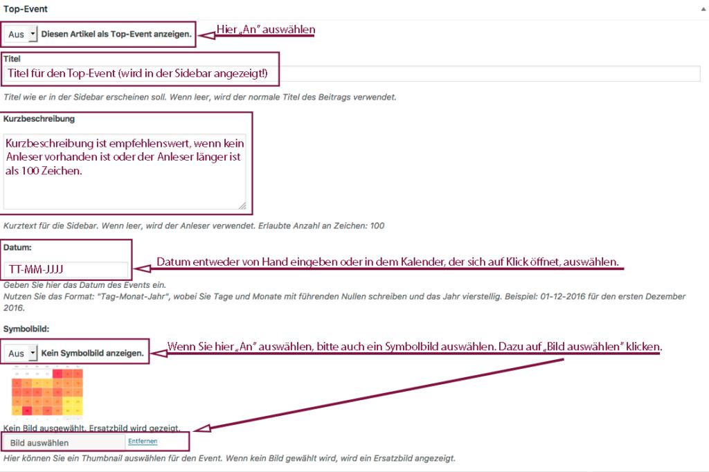 """Übersicht über die Einstellungen in der Metabox """"Top-Event"""", wie sie auf dem Bildschirm angezeigt wird."""