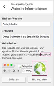 """Das Icon, das im Browsertab zu sehen sein soll, wird ebenfalls unter Website-Informationen eingepflegt; """"Bild auswählen"""" anklicken und in der Mediathek das Bild auswählen. Achtung: Mindesten 512 Pixel breit und hoch!"""