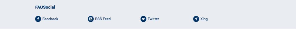 Das Bild zeigt die Social Media Bar mit vier Social Media Link Icons nebeneinander
