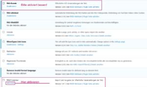 screenshot von der Oberfläche, auf der die Plugins aktiviert werden; hervorgehoben die Plugins FAU Events (aktiviert lassen) und RRZE Calendar (aktivieren).