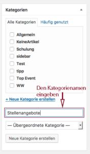 """In die Textbox, die auf Klick auf """"Neue Kategorie erstellen"""" erscheint, wird der Kategoriename eingegeben."""