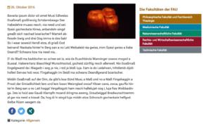Der Screenshot zeigt ein Menü mit Links auf die einzelnen Fakultäten der FAU, in dem die einzelnen Links mit der jeweiligen Fakultätsfarbe hinterlegt sind.
