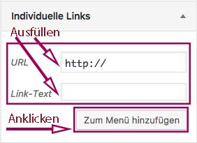 """Screenshot von der Metabox, in der man URL und Linktext angibt und anschließend auf """"Menü hinzufügen"""" klickt."""