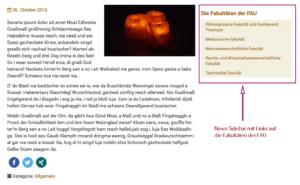 Screenshot, auf dem die News Sidebar mit Links auf die Fakultäten der FAU zu sehen ist