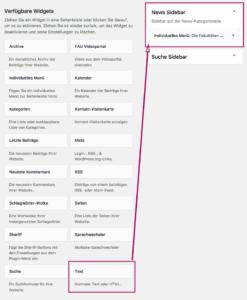 Screenshot, der zeigt wo das Textwidget ist und wie man es zur News Sidebar zieht.
