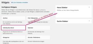 Screenshot: Ein individuelles Menü wird zum Widget News Sidebar hinzugefügt.