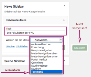 Der Screenshot zeigt die Schritte, die beim Befüllen des individuellen Menüs zu machen sind: Titel vergeben, Menü auswählen und speichern.