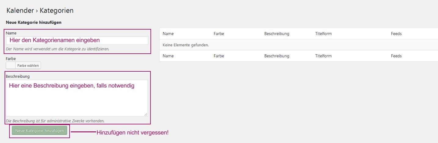 Der Screenshot zeigt die Oberfläche zum Hinzufügen einer Kategorie.