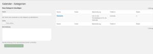 Der Screenshot zeigt die Übersicht über die vorhandenen Kategorien