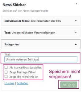 Der Screenshot zeigt das Kategorie-Widget mit ausgefülltem Titel.
