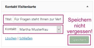 Der Screenshot zeigt das ausgefüllte Kontakt-Widget.